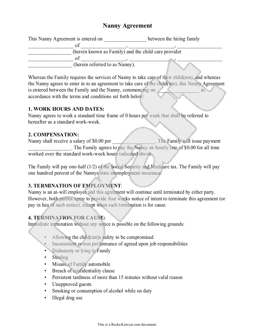 Sample Nanny Agreement Template