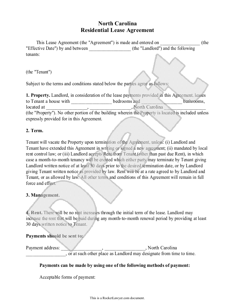 Sample North Carolina Lease Agreement Template