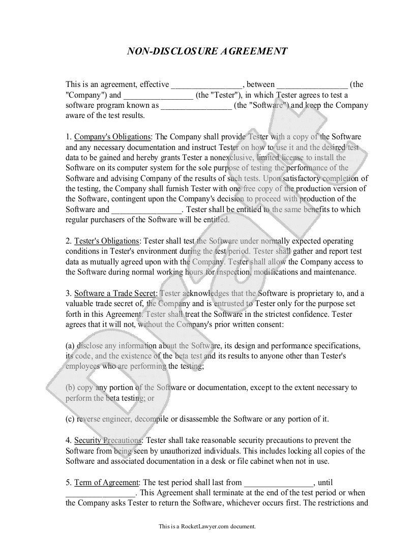 Sample Non-Disclosure Agreement - Beta Tester Template