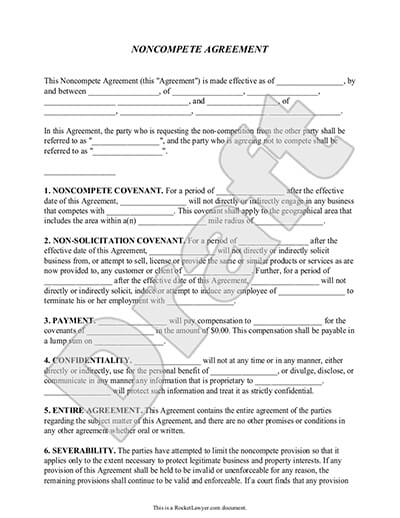 Sample Noncompete Agreement Template