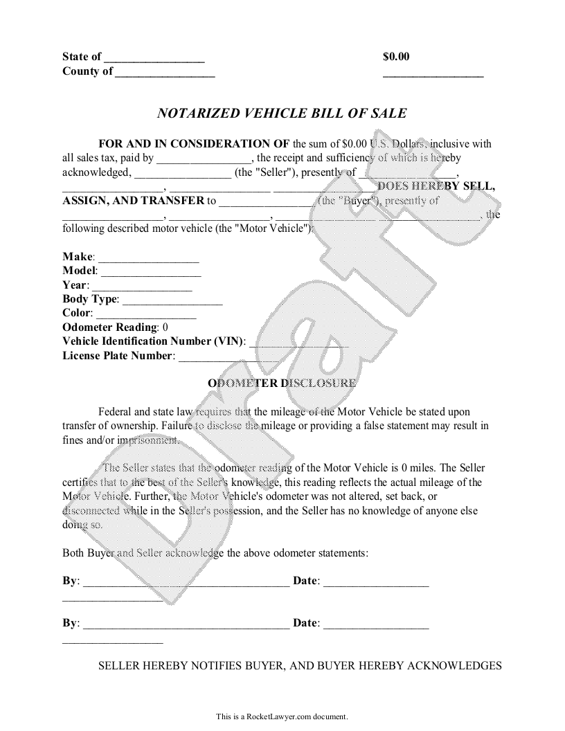 Sample Notarized Vehicle Bill of Sale Template