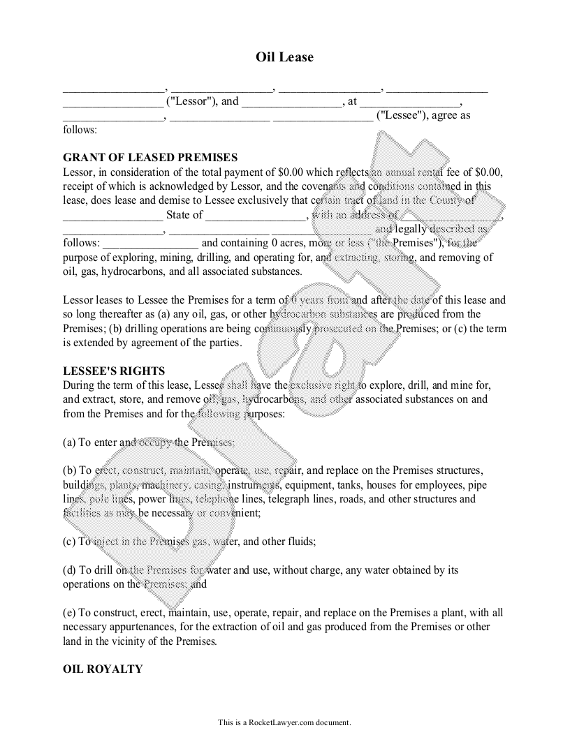 Sample Oil Lease Template
