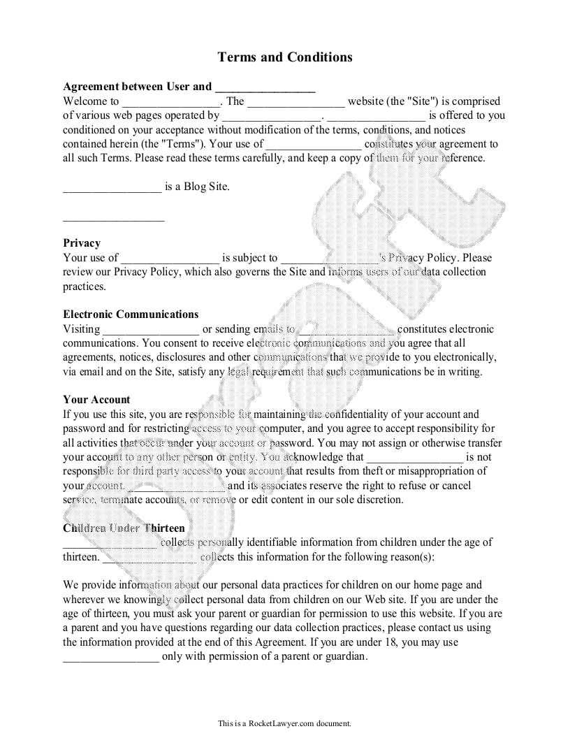 Free Online Terms And Conditions Free To Print Save Download