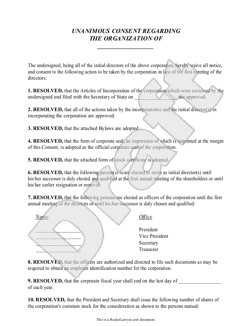 Sample Organizational Consent Template