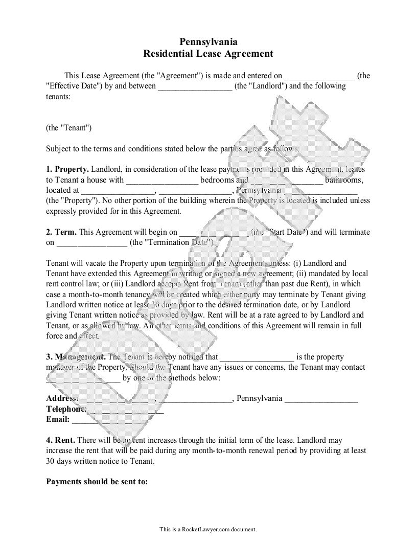 Sample Pennsylvania Lease Agreement Template