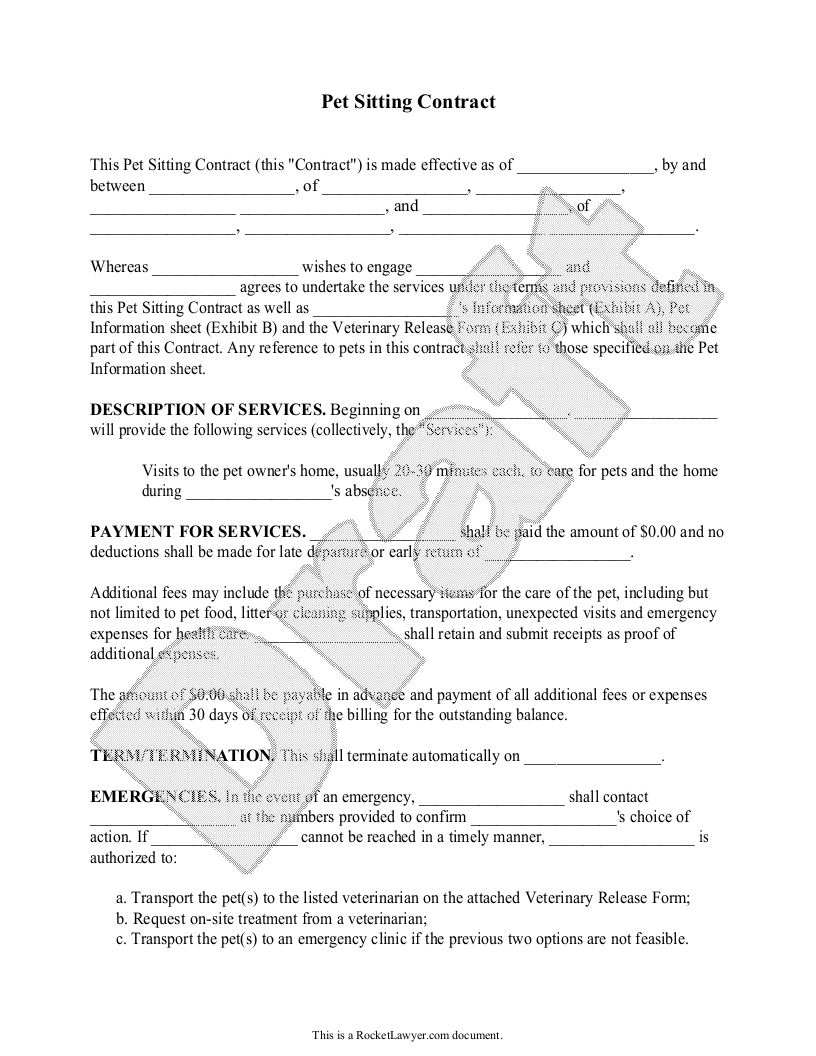Sample Pet Sitting Contract Template