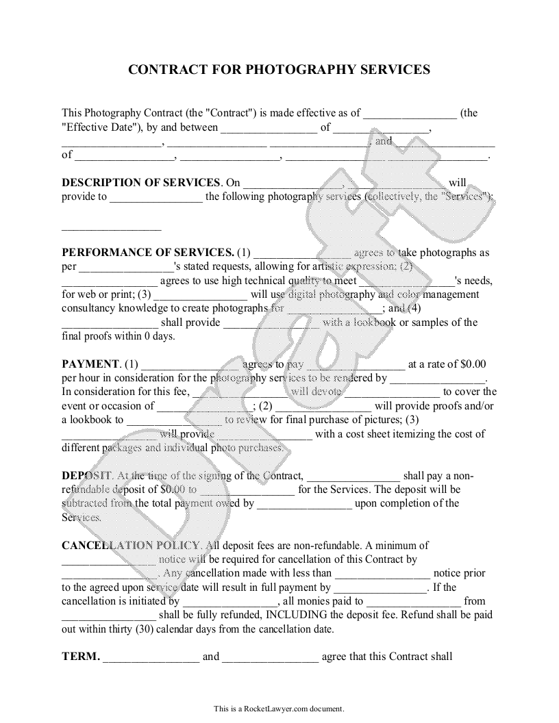 Sample Photography Contract Template