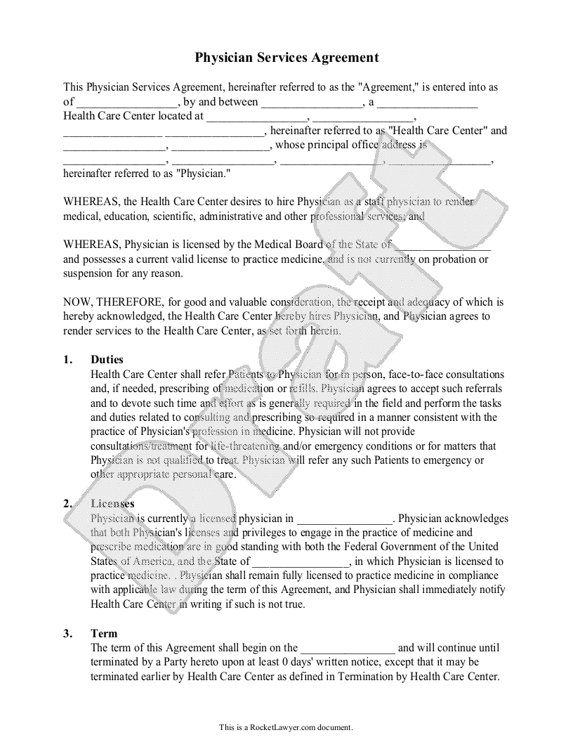 Sample Physician Services Agreement Template