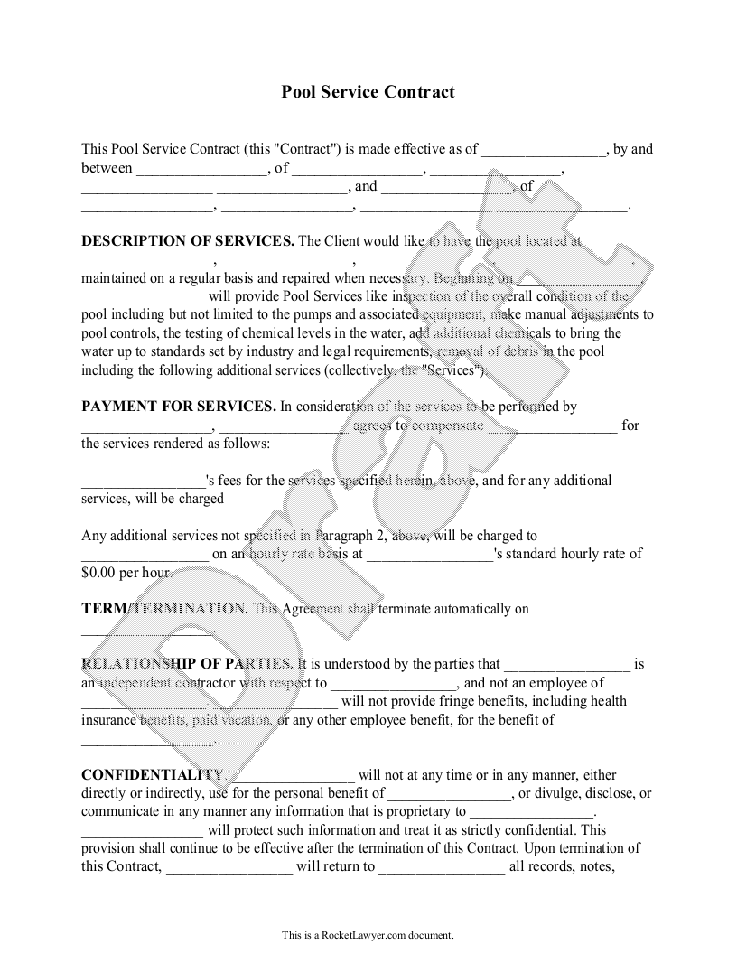 Sample Pool Service Contract Template