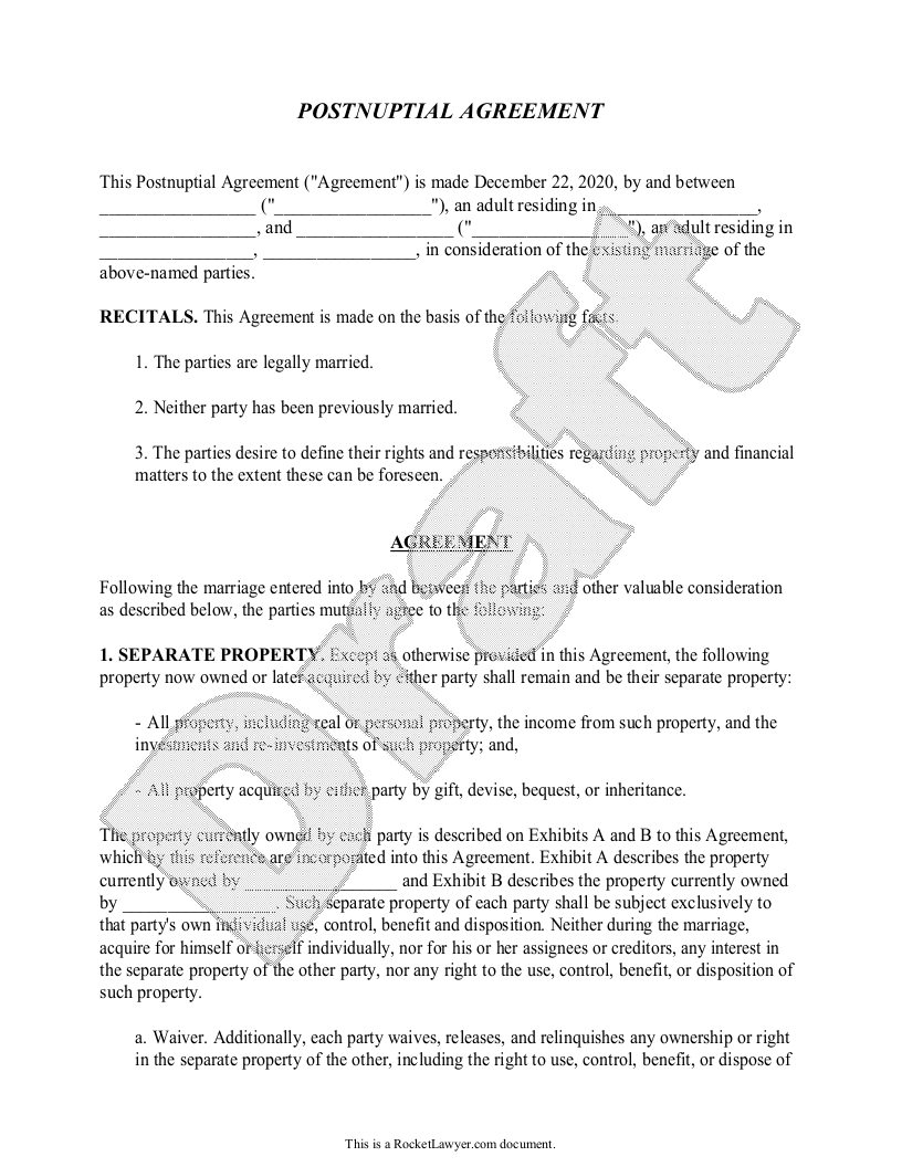 Sample Postnuptial Agreement Template