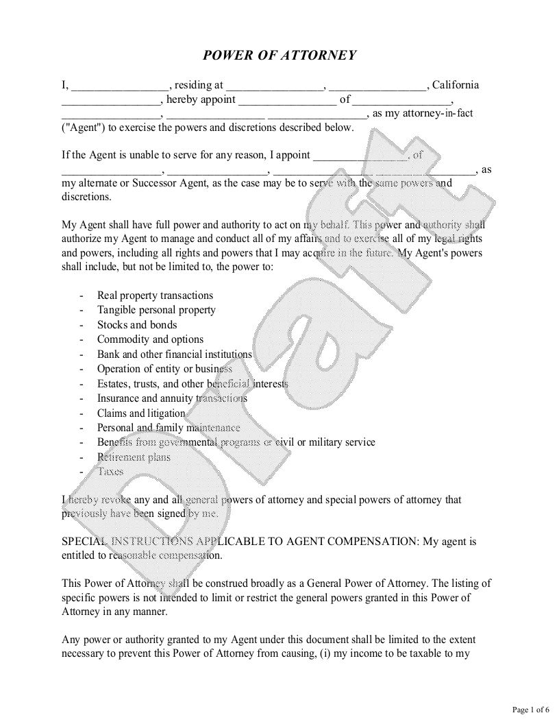 Sample California Power of Attorney Template
