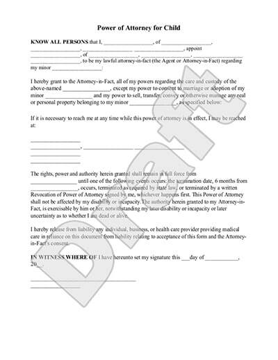Sample Power Of Attorney For Child Template