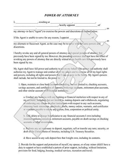 Sample Power of Attorney Template
