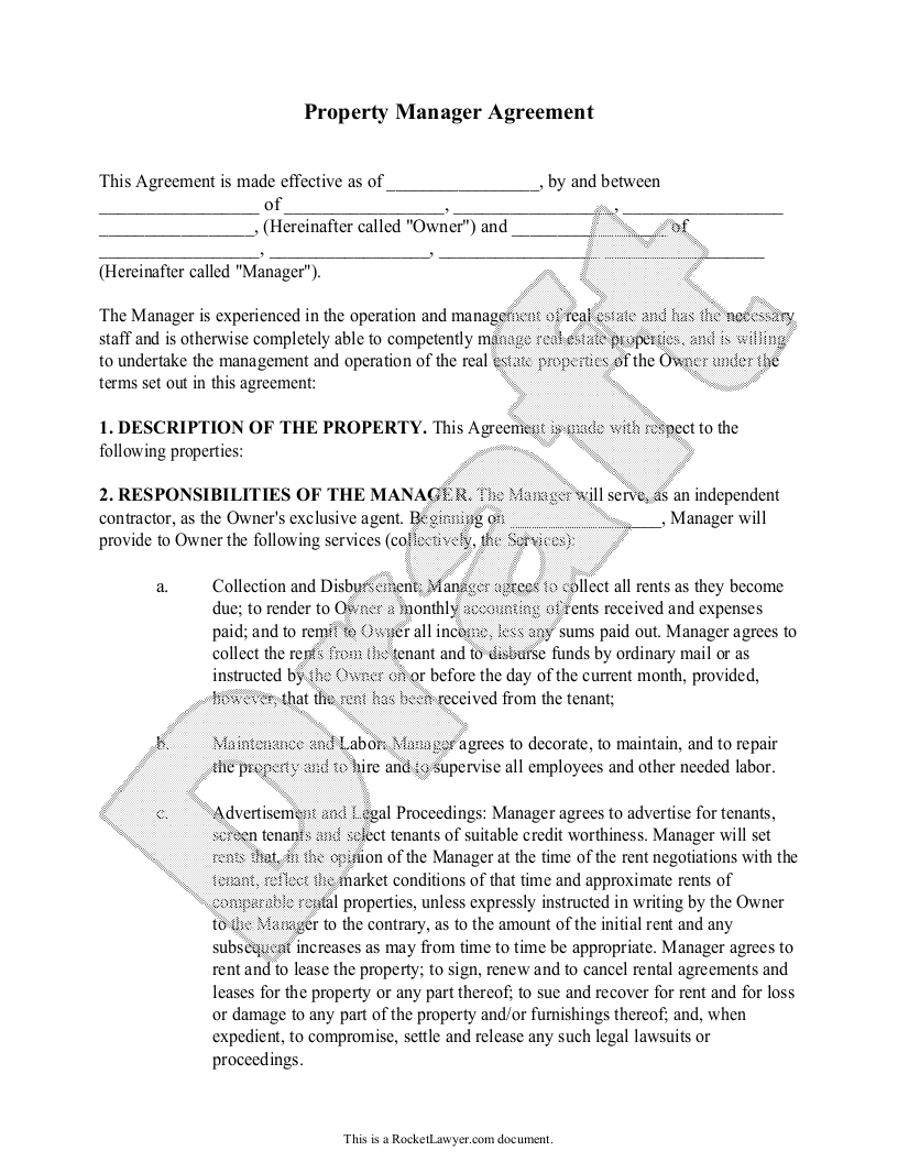 Free Property Manager Agreement Free To Print Save Download