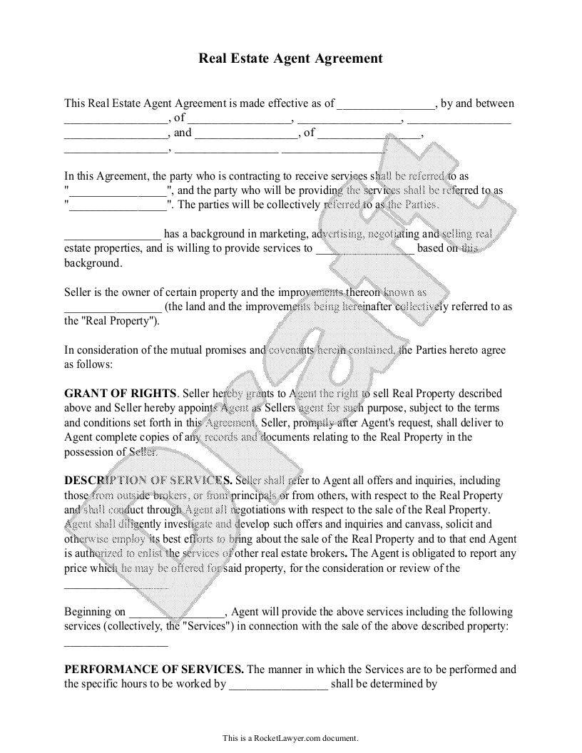 Sample Real Estate Agent Agreement Template