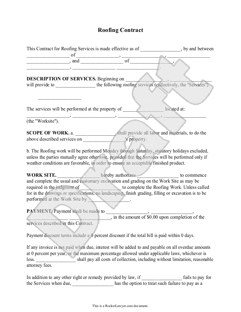 Sample Roofing Contract Template