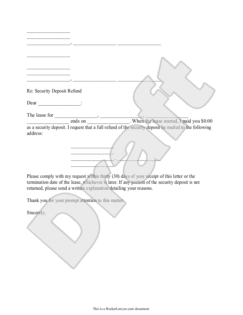 Sample Security Deposit Refund Letter Template