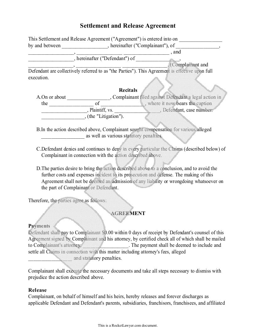 Sample Settlement and Release Agreement Template