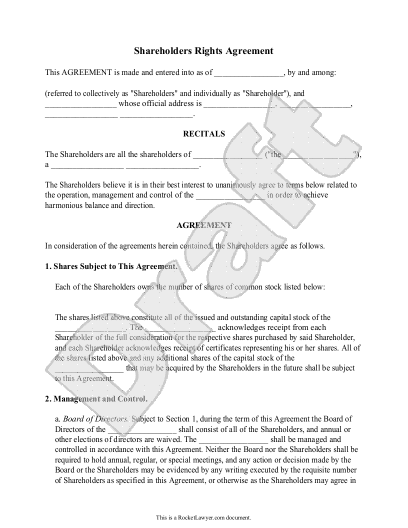 Sample Shareholders Rights Agreement Template