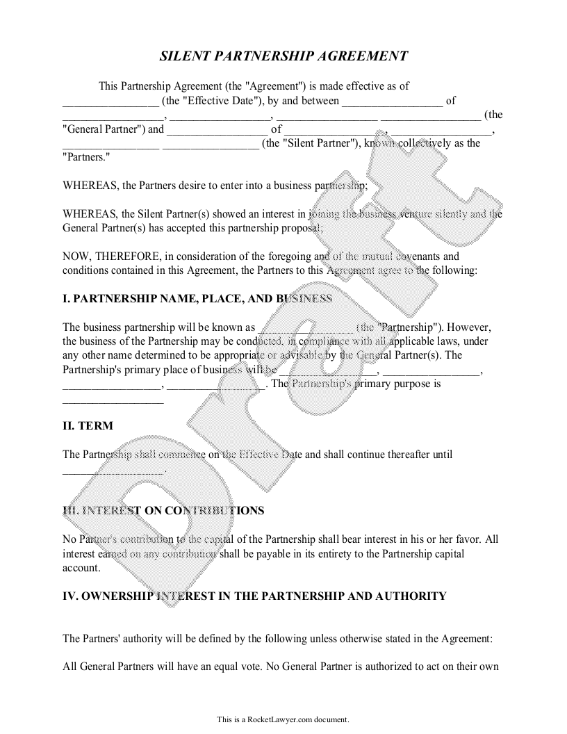 Sample Silent Partnership Agreement Template