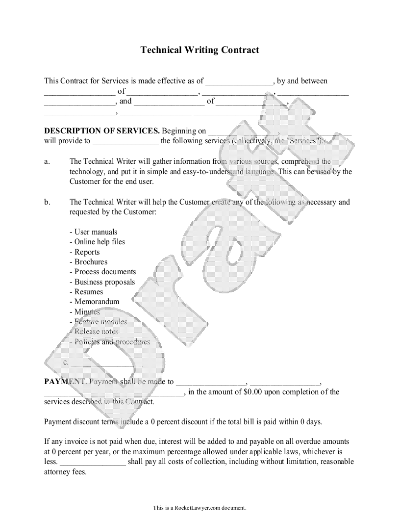 Sample Technical Writing Contract Template