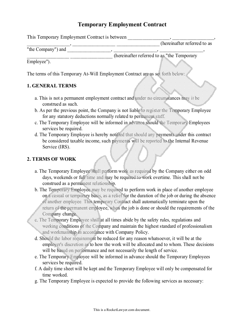 Free Temporary Employment Contract Free To Print Save Download