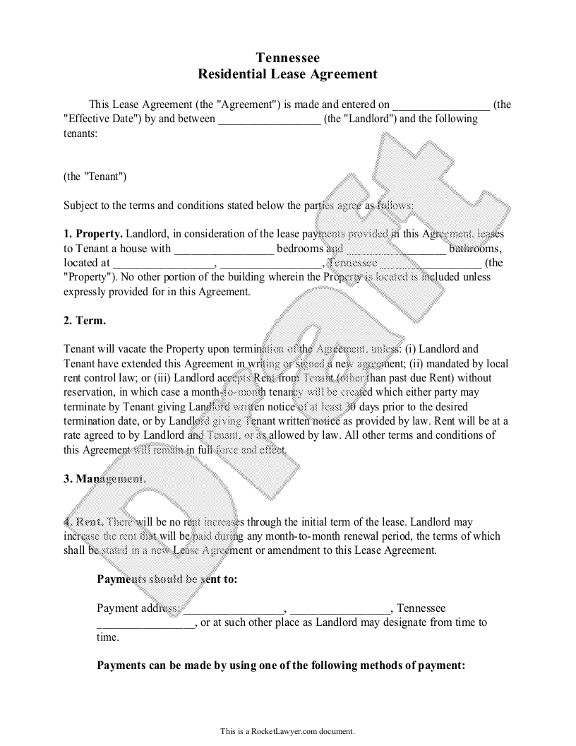 Sample Tennessee Lease Agreement Template