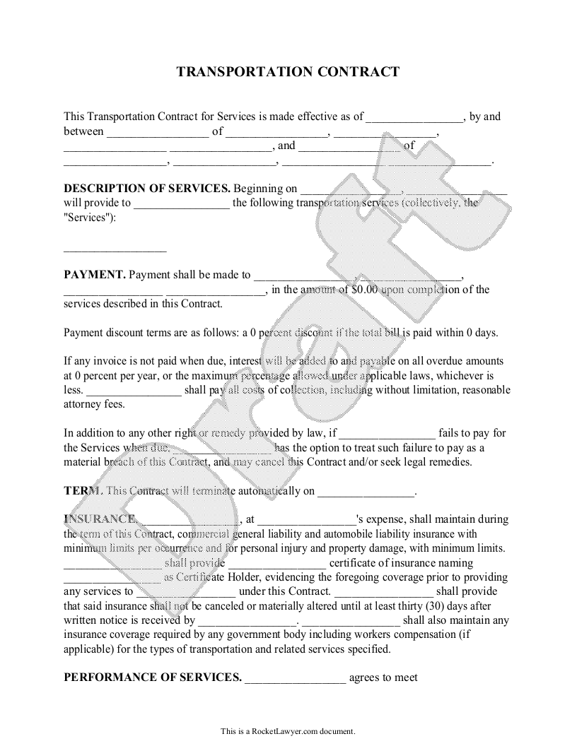 Sample Transportation Contract Template