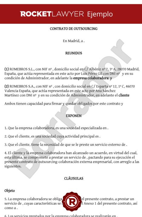 Modelo de contrato de outsourcing Modelo contrato empleada de hogar interna
