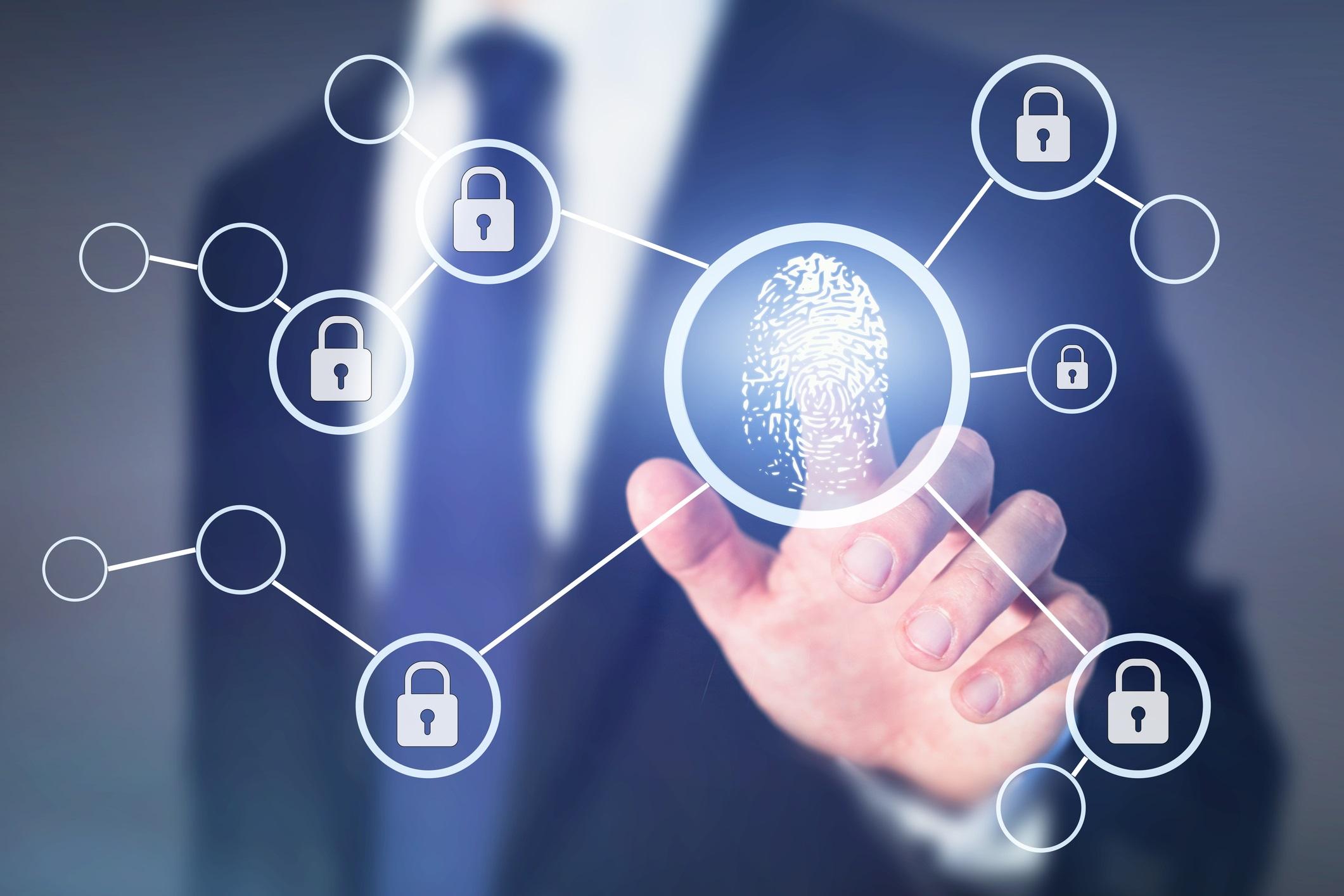 fingerprint authorisation access concept, data information security