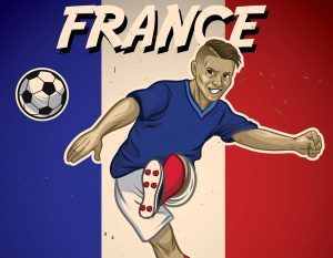 france soccer player with flag background