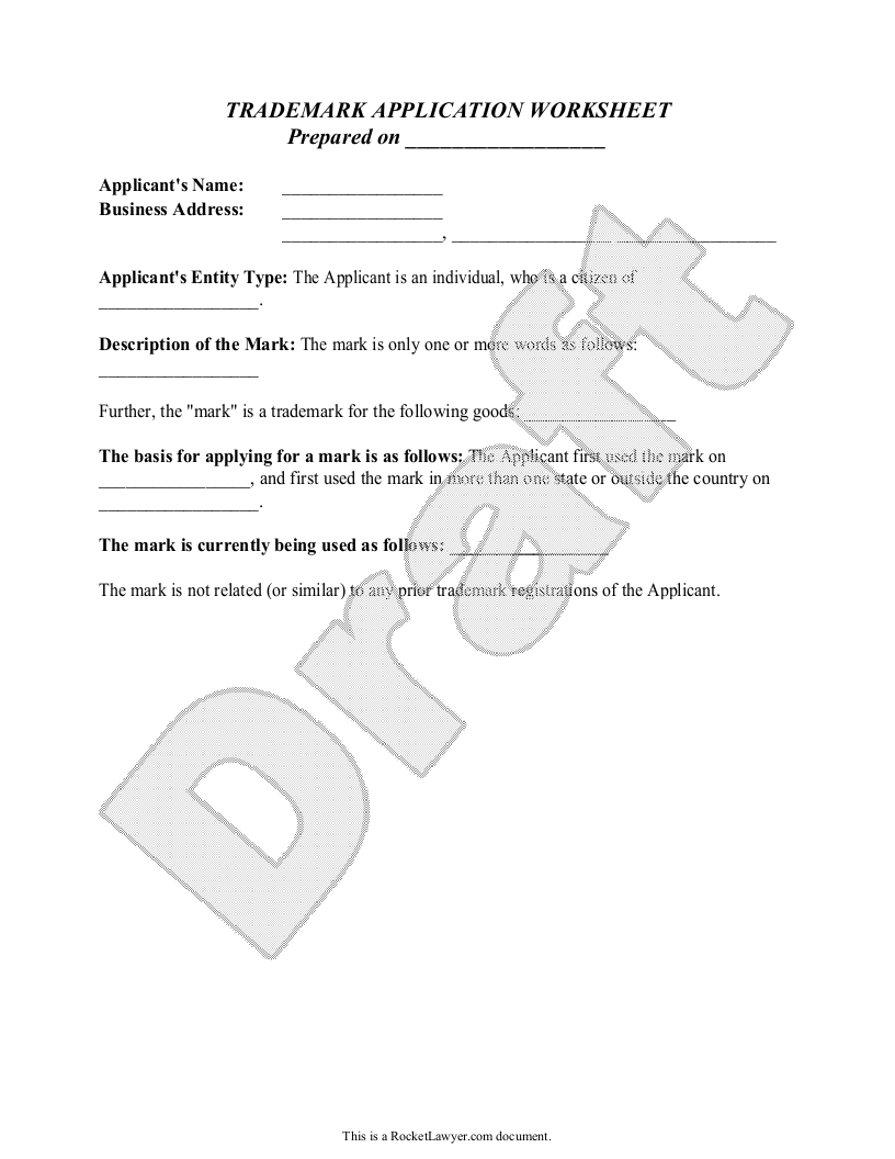 Sample Trademark Application Worksheet Form Template