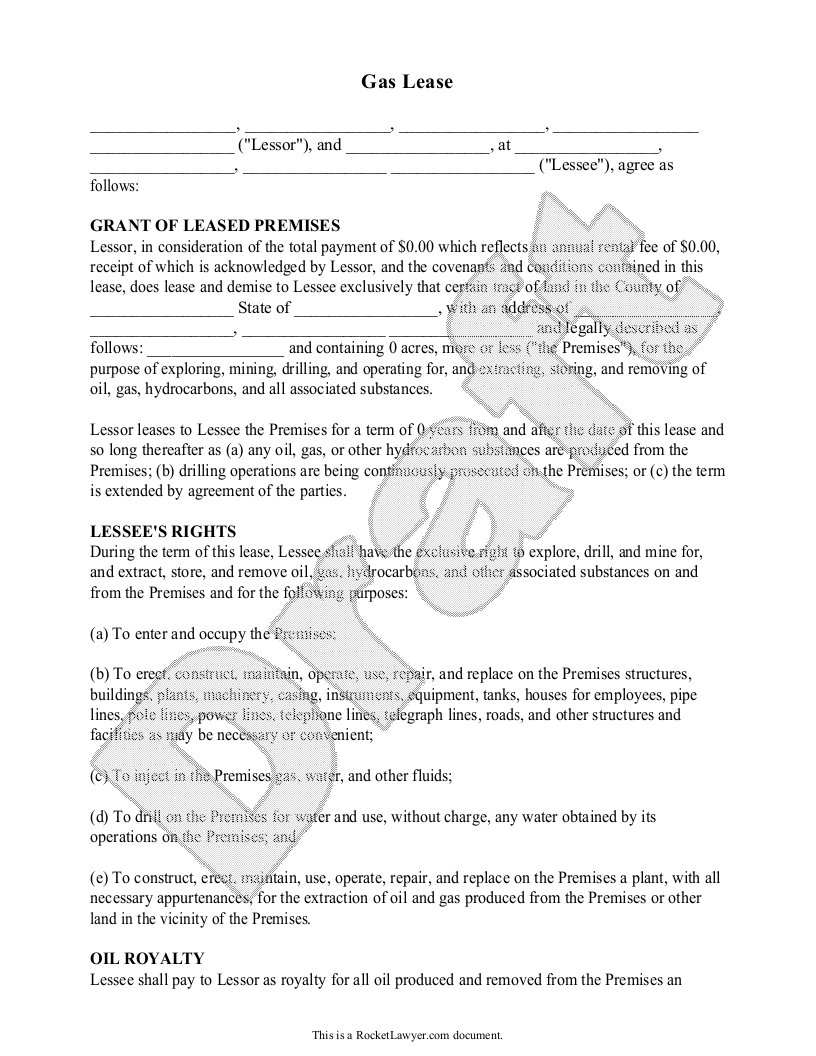 Sample Gas Lease Form Template