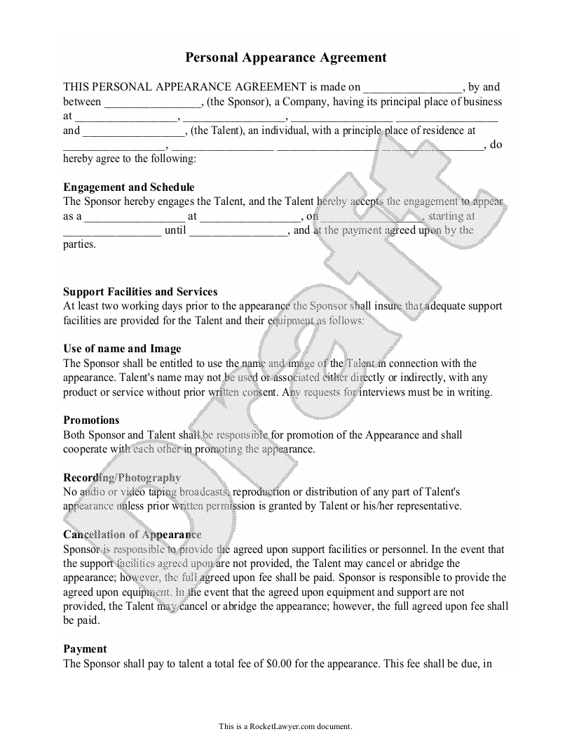 Sample Personal Appearance Agreement Form Template