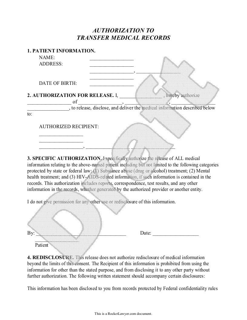 Sample Medical Records Transfer Form Form Template
