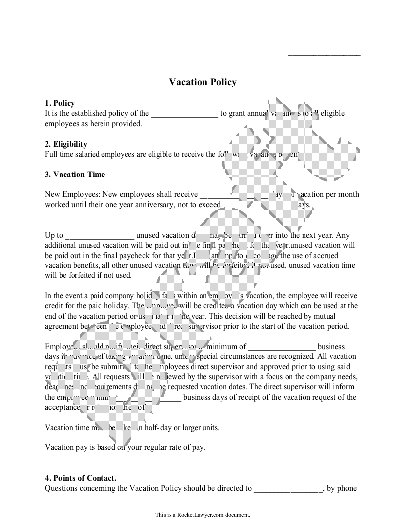Sample Vacation Policy Form Template
