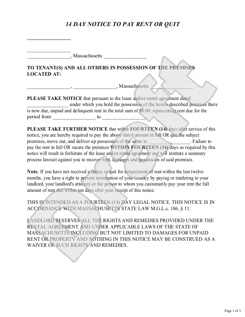 Sample Massachusetts Eviction Notice Form Template
