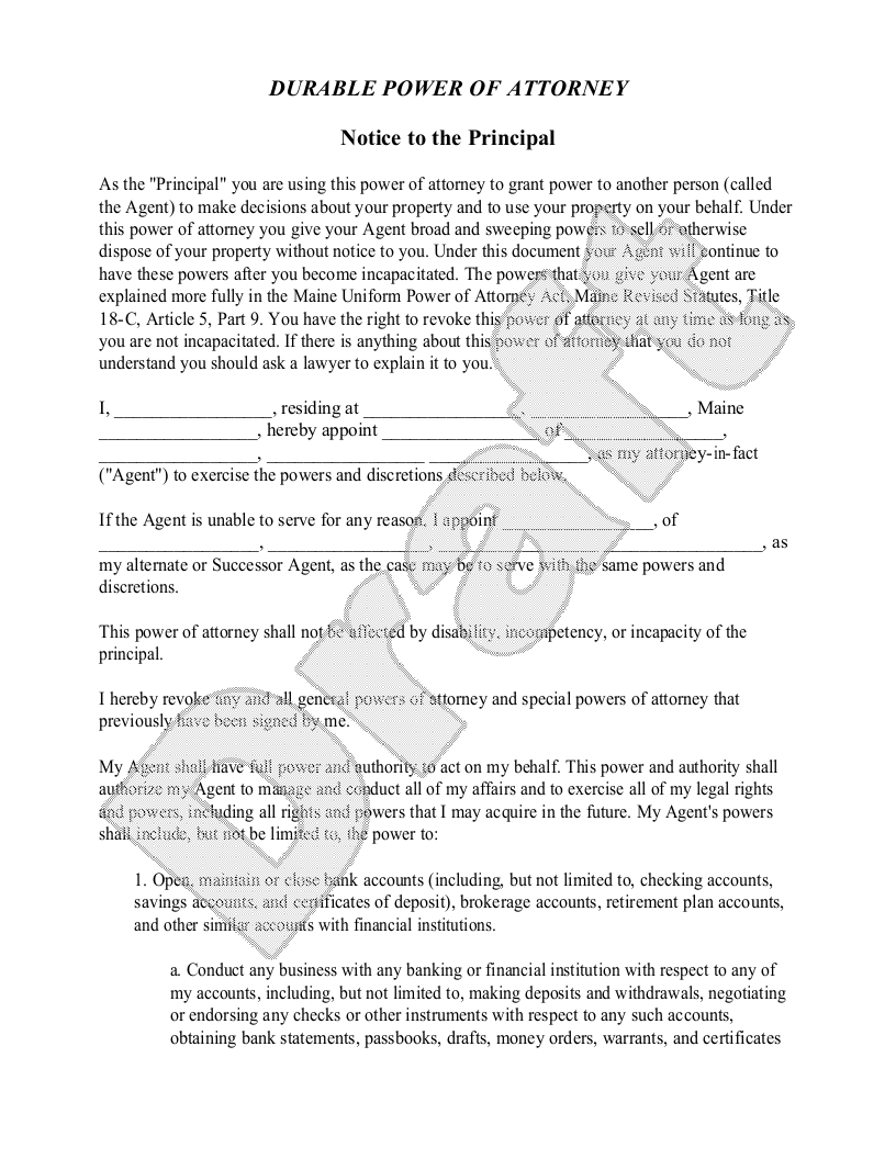 Sample Maine Power of Attorney Form Template
