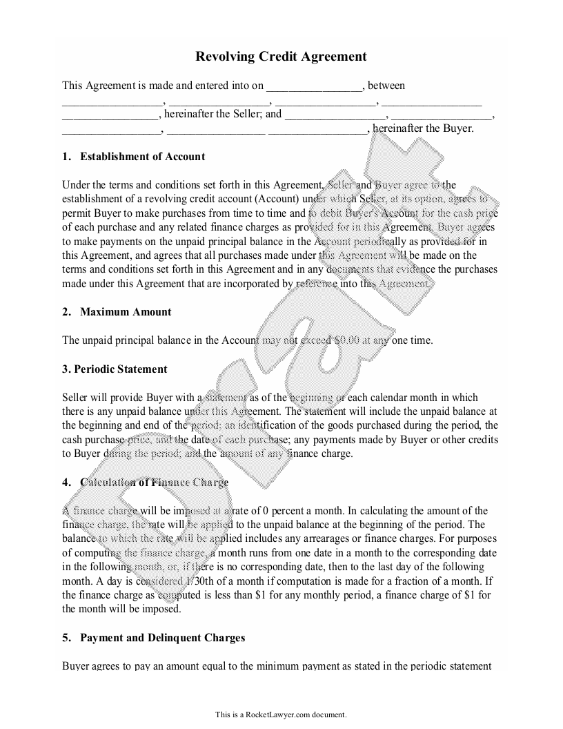 Sample Revolving Credit Agreement Form Template