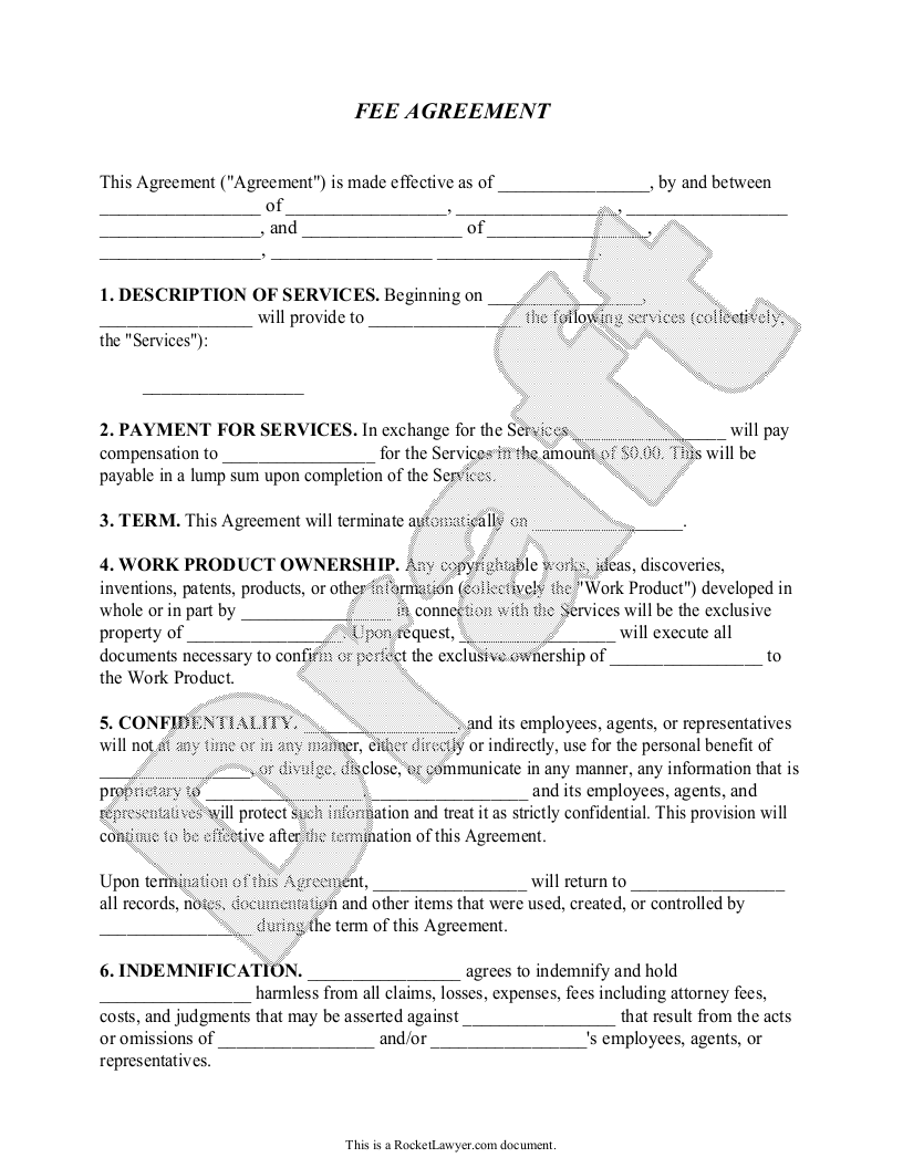 Sample Fee Agreement Form Template