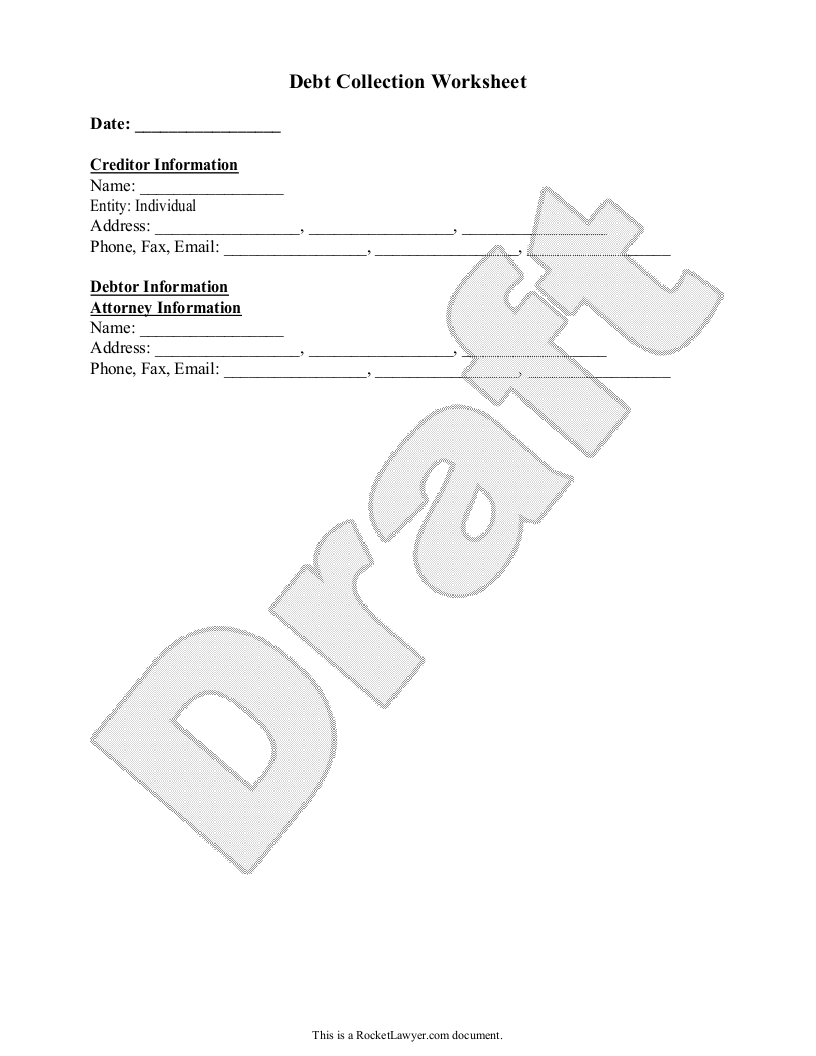 Sample Debt Collection Worksheet Form Template