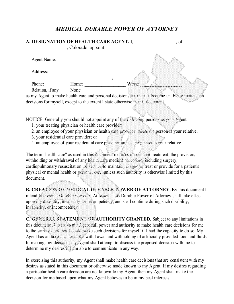 Sample Colorado Healthcare Power of Attorney Form Template
