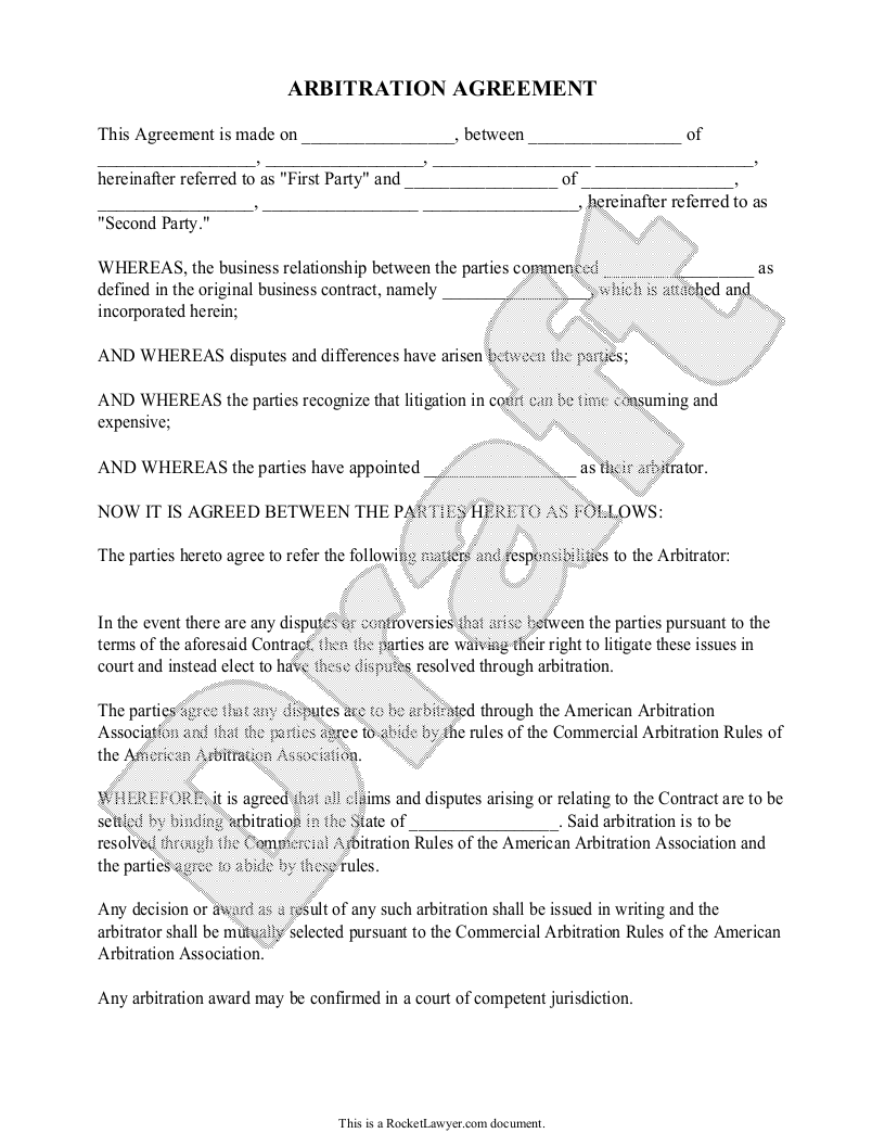 Sample Arbitration Agreement Form Template