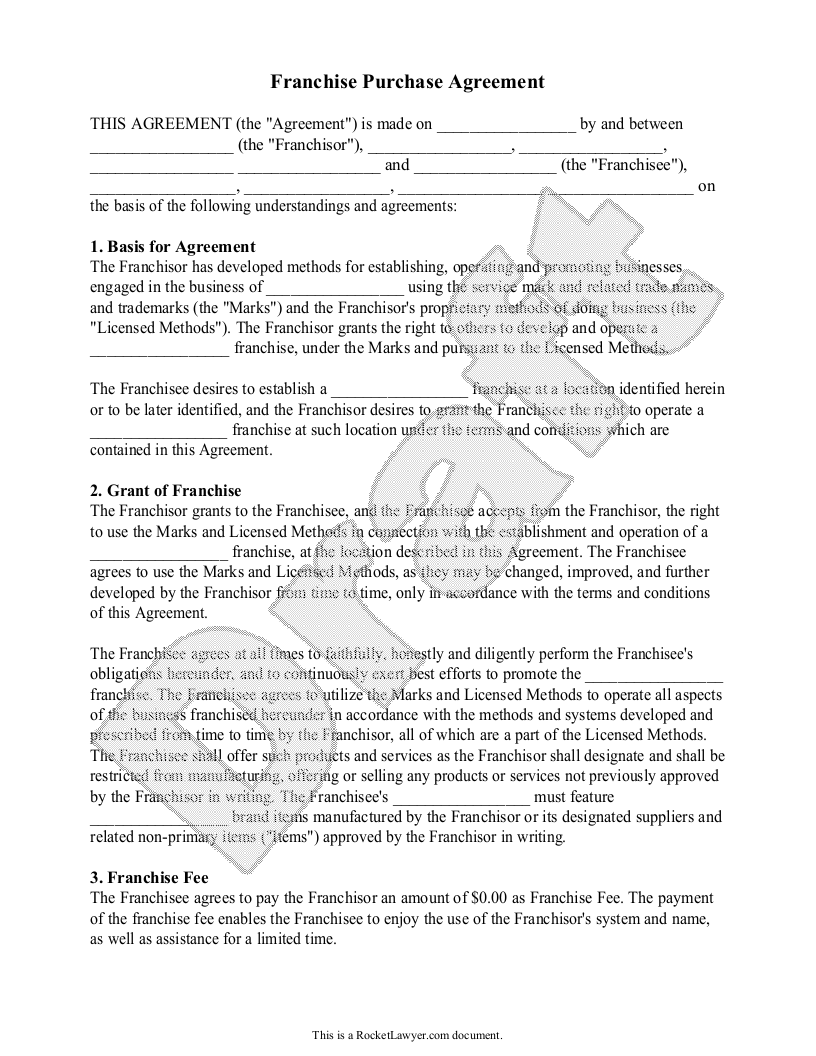 Sample Franchise Purchase Agreement Form Template