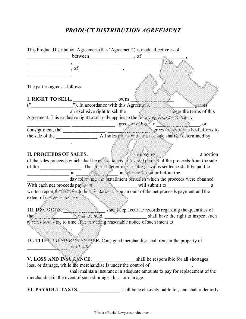 Sample Product Distribution Agreement Form Template