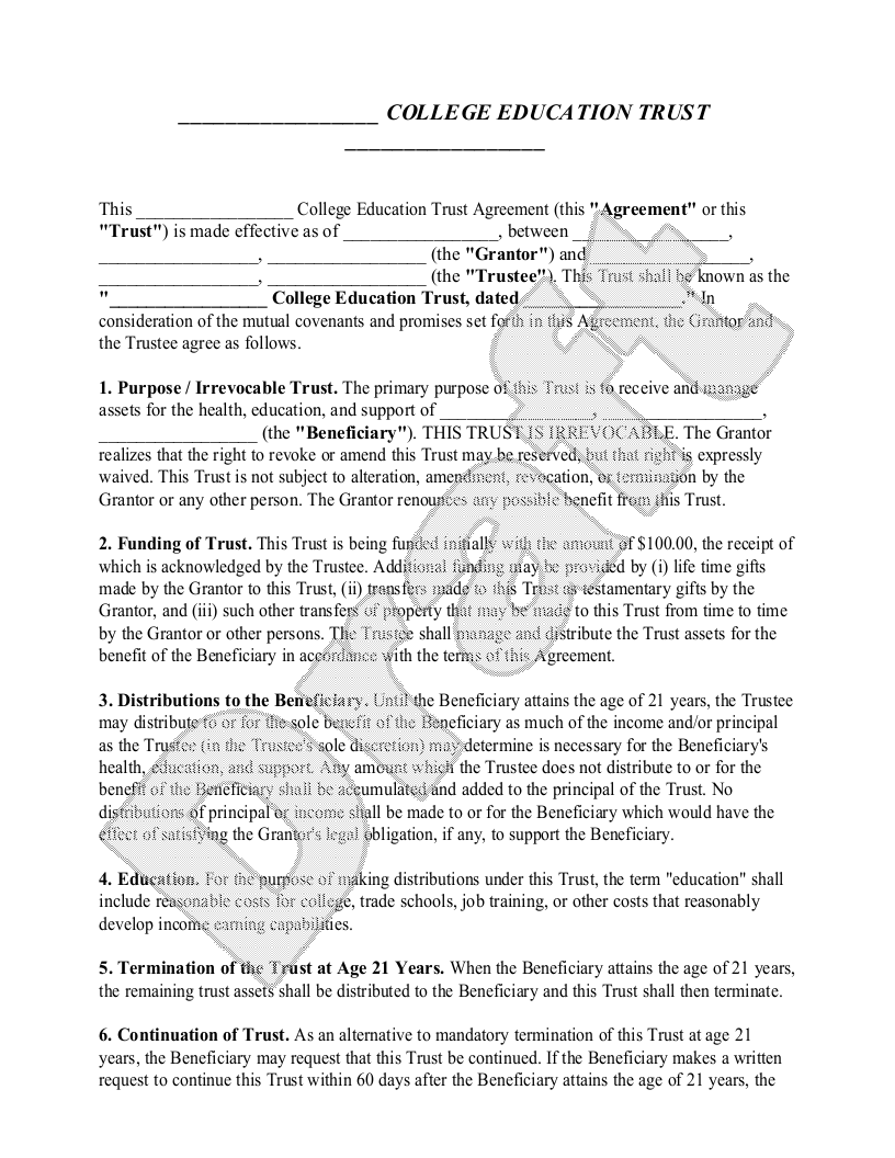 Sample College Education Trust Form Template