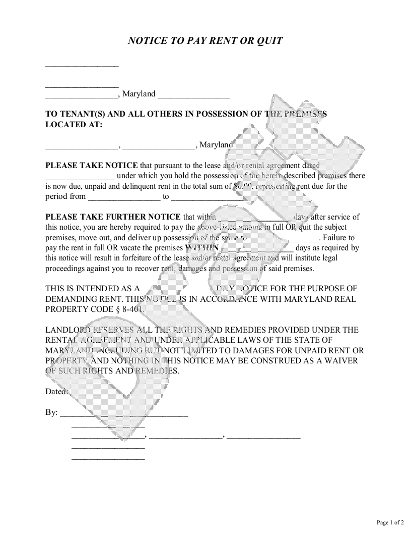 Sample Maryland Eviction Notice Form Template