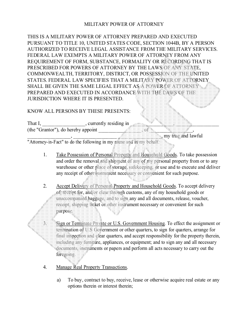Sample Military Power of Attorney Form Template