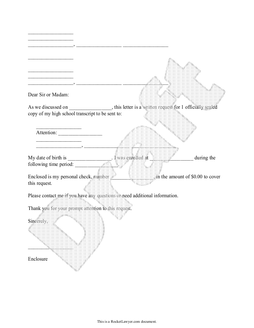 Sample Transcript Request Form Template