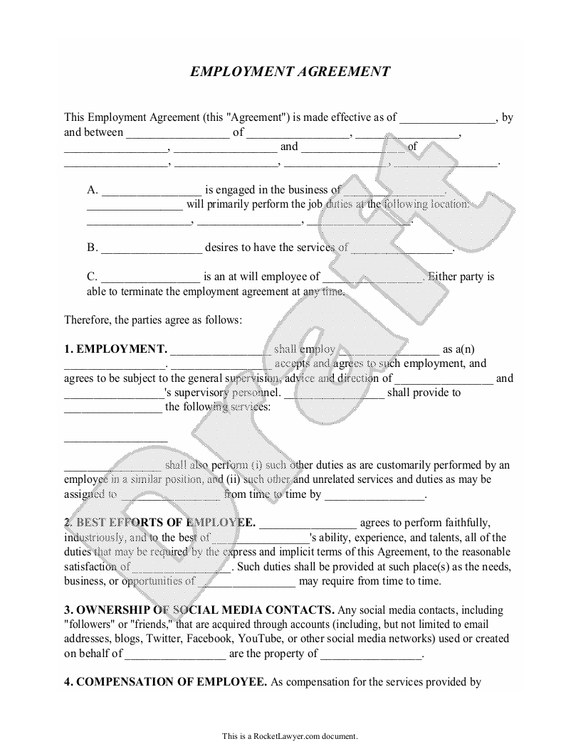 Sample Employment Agreement Form Template